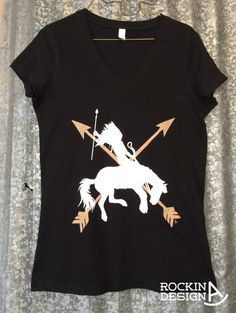 Indian warrior bronc rider crossed arrows graphic by RockinAdesign Clothing Women's Clothing Tops & Tees Tshirts handmade graphic tee Rockin A Design tee cowgirl free spirit western cowboy rodeo indian warrior bronc rider native american