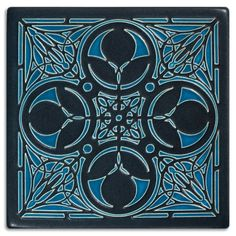 This intricate Arts & Crafts tile design is taken from a Frank Lloyd Wright wood grille detail found in Oak Park, Illinois', Nathan Moore House.