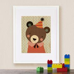 Affiche sur support en bois La fête de l'ours