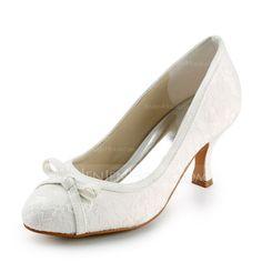 Women's Lace Satin Spool Heel Closed Toe Pumps With Bowknot Sparkling Glitter (047005740) - JenJenHouse