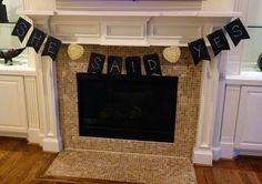DIY chalkboard banner... used card stock and painted each card with chalkboard paint. So easy!