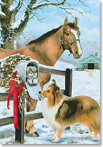 Pretty collie and horse grace a vintage Christmas card. Christmas Horses, Cowboy Christmas, Christmas Scenes, Christmas Past, Christmas Animals, Country Christmas, Christmas Pictures, Winter Christmas, Christmas Morning