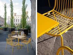 "The ""Nolita"" chairs by Antonio Pagliarulo and Simone Mandelli exude summer flair. #Pedrali #outdoor #yellow #chair"