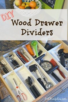 My DIY wood drawer dividers were so simple to make, look like expensive drawer organizers and keep everything so neat and tidy in my kitchen drawers. www.H2OBungalow.com Kitchen Organization Pantry, Home Organisation, Kitchen Pantry, Kitchen Hacks, Diy Kitchen, Diy Organization, Organizing Ideas, Kitchen Storage, Kitchen Drawers
