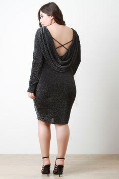 Metallic Drape Back Midi Dress