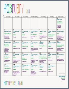 february 2014 monthly meal plan freeprintable