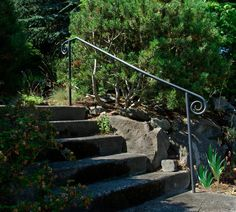 Ballard Ornamental Ironworks—Hand Railings—(206) 782-3343 Porch Handrails, Exterior Stair Railing, Outdoor Stair Railing, Wrought Iron Stair Railing, Stair Handrail, Iron Railings, Banisters, Garden Gates And Fencing, Garden Stairs