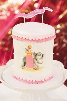 Pink Ruffle Vintage Circus Cake