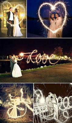 bring some sparklers to your wedding. ask your photographer to use long exposure (or the bulb option), place the camera on a tripod and you draw your picture with your sparkler.