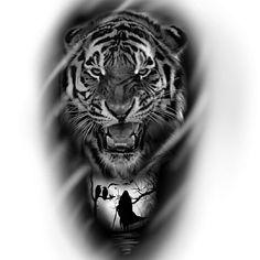 Tiger Face Tattoo, Tiger Tattoo Sleeve, Lion Tattoo Sleeves, Lion Head Tattoos, Tiger Tattoo Design, Full Arm Tattoos, Elephant Tattoo Design, Tattoo Sleeve Designs, Body Art Tattoos
