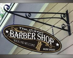 Barber Pole Barber Shop Beauty Shop Business Family Name Custom Personalized Wood Painted Sign
