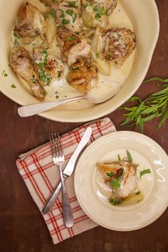 An indulgent recipe that's definitely worth splurging on: Chicken with a white wine and cream sauce.