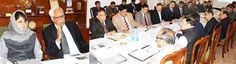 Governor N N Vohra and Chief Minister Mehbooba Mufti reviewing Katra development issues in a meeting at Raj Bhavan.