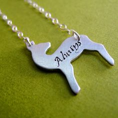 Harry Potter -Snape's Patronus Necklace: Always in aluminum, copper, or brass on sterling silver chain. $24.00, via Etsy.