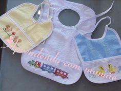 Bordado em ponto cruz, babador, bebê, linha moulinè coats, artesanato, blog, feito por mim