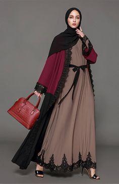 Elegant Muslim Women's Acetate Cardigan  Price: 42.87 & FREE Shipping  #hashtag2 Abaya Fashion, Fashion Wear, Modest Fashion, Womens Fashion, Diy Fashion, How To Wear Cardigan, Dress With Cardigan, Muslim Women Fashion, Muslim Dress