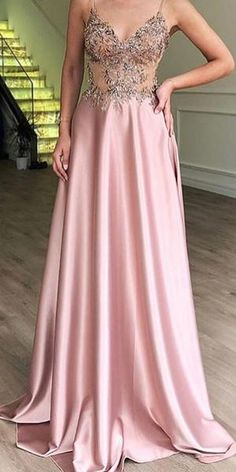 This dress is Made-To-Order in our Dressself. Spaghetti Straps Pink Prom Dresses Long Evening Dresses with Appliques. Suitable for Party, Prom and Evening. Straps Prom Dresses, Unique Prom Dresses, Pink Prom Dresses, Cheap Evening Dresses, Pretty Dresses, Beautiful Dresses, Long Dresses, Dress Prom, Wedding Dresses