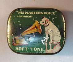 "Vintage needle tin with ""Nipper"" the RCA Victor mascot."