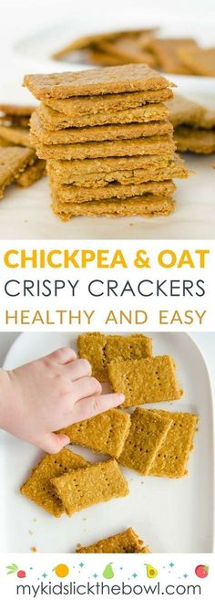 chickpea and oat crackers, healthy snacks made with simple ingredients. Crispy and crunchy and delicious
