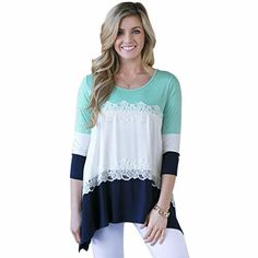 Buy fashion tops for women at Banggood online store. Shop our huge selection of cheap womens tops and lace tops from the best brands. High quality women's tops with wholesale price. European Fashion, New Fashion, Fashion Ideas, Tunic Tops For Leggings, Couture, Lace Tops, Lady, T Shirt, Shirt Blouses