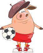 Иллюстрация симпатичный свинки игроков. Мультяшный персонажей