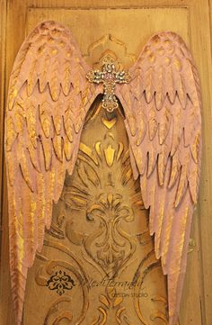 Metal angel wings, distressed wings, cross and angel wings, angel wing wall decor, Mediterranea Design Studio,