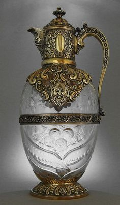 "treasures-and-beauty: "" Charles Edwards - London 1889 Stourbridge Glass, designed by John Orchard "" Art Nouveau, Art Deco, Antique Glass, Antique Silver, Glass Bottles, Perfume Bottles, Art Sculpture, Objet D'art, Antique Furniture"
