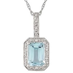 Emerald-Cut Blue Topaz with Diamond Accents. Love it!