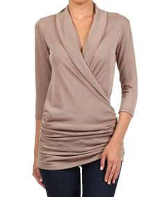Look at this Khaki Gathered Surplice Top on #zulily today!