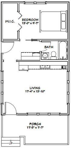 18x30 Tiny House -- #18X30H1 -- 540 sq ft - Excellent Floor Plans