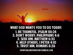 What God wants you to do Today