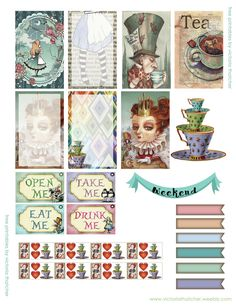alice in wonderland planner stickers