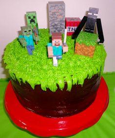 Easy Minecraft cake, chocolate cake. #minecraft