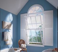 This unique Ply Gem window style is perfect for bathrooms, with plenty of ventilation and shutters for privacy.
