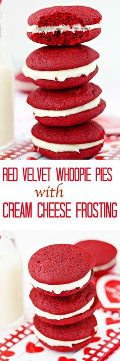 Red velvet whoopie pies with cream cheese frosting - Soft, cake-like red velvet cookies sandwiched with a smooth sweet cream cheese frosting(Baking Sweet Red Velvet) Köstliche Desserts, Delicious Desserts, Dessert Recipes, Yummy Food, Delicious Cookies, Cheesecake Recipes, Red Velvet Desserts, Red Velvet Recipes, Red Velvet Whoopie Pies