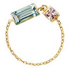 """Yi Collection """"""""Dream Links"""""""" Aquamarine & Pink Sapphire Chain Ring ($640) ❤ liked on Polyvore featuring jewelry, rings, heart shaped aquamarine ring, 18k ring, chain ring, heart ring and 18k jewelry"""