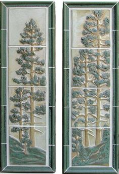 This photo shows the Stoney Matte White with Green Glaze. All murals are available in each glaze. Craftsman Tile, Craftsman Fireplace, Modern Craftsman, Craftsman Style Homes, Craftsman Artwork, Ceramic Tile Art, Clay Tiles, Bungalow Decor, Art Nouveau Tiles