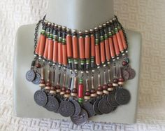 Authentic  tribal Wooden beads.necklace,.Ethnic,tangerine orange Wooden beads,coin,chain.Ready to ship.
