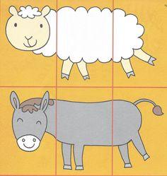 3- delige puzzels. Ik heb het buikje van elk dier op een blad gekleefd. De kinderen moesten enkel het kopje en het staartje aan het dier toevoegen. Deze activiteit heb ik gedaan met peuters van 20 maand tot 2,5 jaar. Uit Dopido. - Delphine Wieme Abc Activities, Preschool Worksheets, Farm Animal Crafts, Farm Animals, Puzzles, Games For Kids, Kindergarten, Homeschool, Kids Rugs