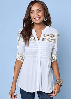 Brunch on the beach? You'll need this top! Venus lace inset button up top with Venus multi color beaded cuff.