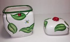 Harry and David Ceramic Preserve Jar Featuring Ladybugs, Leaves, Dragonfly & Bee #HarryandDavid