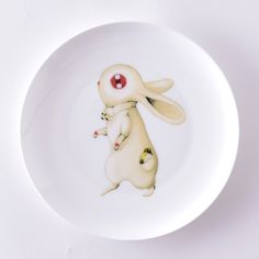 Kawaii Ceramic Dish Alice'S Adventures In Wonderland Dinner Plates Tray Tableware 23cm Bone China Porcelain Plate Free Shipping