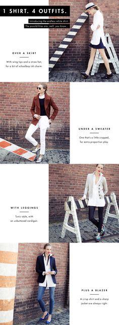 One White Shirt Tunic Four Ways