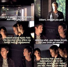 Haha the love hate relationship between Damon and Jeremy never gets old. #TVD #Jeremy #Damon