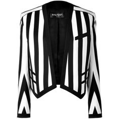 Balmain - Black/White Striped Cotton-Blend Open Jacket (€855) ❤ liked on Polyvore featuring outerwear, jackets, blazers, coats, black, evening jackets, women, black striped jacket, black white jacket and black and white striped jacket