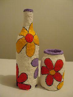 Reciclagem de garrafa e pote - papel machê - DIY - Reciclagem com Papel - Faça você mesmo!