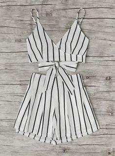 #Valentines #AdoreWe #Oasap.com - #oasap Fashion 2 Piece Stripe Shorts Set - AdoreWe.com