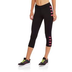Fitspiration Women's Performance Workout Capris with Color Cutouts, Size: Small, Black