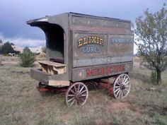 Antique wagon santa fe style wagon montana movie horse drawn medicine wagon