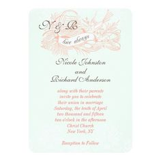 Mint Green Coral Vintage Wedding Invitation